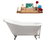 "Streamline 60"" Cast Iron Soaking Clawfoot Tub With External Drain 