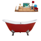 "Streamline 61"" Cast Iron Soaking Clawfoot Tub With External Drain 