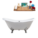 "Streamline 72"" Cast Iron Soaking Clawfoot Tub With External Drain 