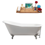 "Streamline 67"" Cast Iron Soaking Clawfoot Tub With External Drain 