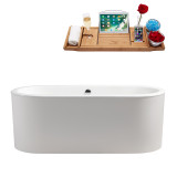 Streamline 67 Cast Iron Soaking Freestanding Tub With Internal Drain | R-5400-67CIFSWH-FM