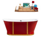 "Streamline 67"" Cast Iron Soaking Freestanding Tub With External Drain 