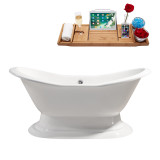 "Streamline 61"" Cast Iron Soaking Freestanding Tub With External Drain 