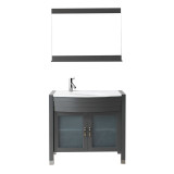 """Virtu USA Ava 36"""" Single Vanity with Aqua Tempered Glass countertop in Gray 
