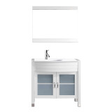 """Virtu USA Ava 36"""" Single Vanity with Aqua Tempered Glass countertop in White   Integrated Round Sink"""