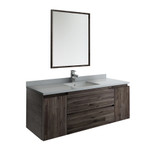 "Fresca Formosa 54"" Wall Hung Modern Bathroom Vanity w/ Mirror 
