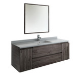 "Fresca Formosa 60"" Wall Hung Single Sink Modern Bathroom Vanity w/ Mirror 