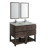 "Fresca Formosa 48"" Floor Standing Double Sink Modern Bathroom Vanity w/ Open Bottom & Mirrors 