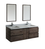 "Fresca Formosa 60"" Wall Hung Double Sink Modern Bathroom Vanity w/ Mirrors 
