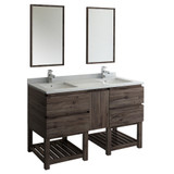 "Fresca Formosa 60"" Floor Standing Double Sink Modern Bathroom Vanity w/ Open Bottom & Mirrors 