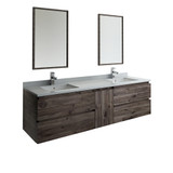 "Fresca Formosa 72"" Wall Hung Double Sink Modern Bathroom Vanity w/ Mirrors 