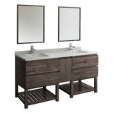 "Fresca Formosa 72"" Floor Standing Double Sink Modern Bathroom Vanity w/ Open Bottom & Mirrors 