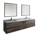 "Fresca Formosa 84"" Wall Hung Double Sink Modern Bathroom Vanity w/ Mirrors 