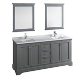 "Fresca Windsor 72"" Gray Textured Traditional Double Sink Bathroom Vanity w/ Mirrors 