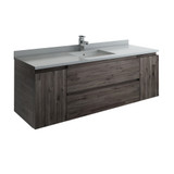 "Fresca Formosa 60"" Wall Hung Single Sink Modern Bathroom Cabinet w/ Top & Sink 