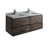 "Fresca Formosa 48"" Wall Hung Double Sink Modern Bathroom Cabinet w/ Top & Sinks 