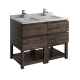 "Fresca Formosa 48"" Floor Standing Open Bottom Double Sink Modern Bathroom Cabinet w/ Top & Sinks 