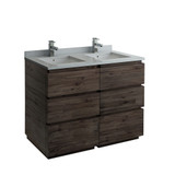 "Fresca Formosa 48"" Floor Standing Double Sink Modern Bathroom Cabinet w/ Top & Sinks 