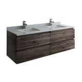 "Fresca Formosa 60"" Wall Hung Double Sink Modern Bathroom Cabinet w/ Top & Sinks 