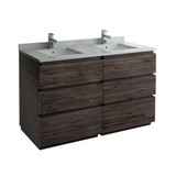 "Fresca Formosa 60"" Floor Standing Double Sink Modern Bathroom Cabinet w/ Top & Sinks 