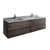 "Fresca Formosa 72"" Wall Hung Double Sink Modern Bathroom Cabinet w/ Top & Sinks 