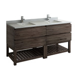 "Fresca Formosa 72"" Floor Standing Open Bottom Double Sink Modern Bathroom Cabinet w/ Top & Sinks 