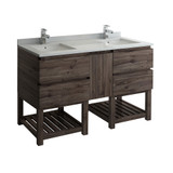"Fresca Formosa 60"" Floor Standing Open Bottom Double Sink Modern Bathroom Cabinet w/ Top & Sinks 