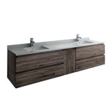 "Fresca Formosa 84"" Wall Hung Double Sink Modern Bathroom Cabinet w/ Top & Sinks 