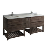 "Fresca Formosa 84"" Floor Standing Open Bottom Double Sink Modern Bathroom Cabinet w/ Top & Sinks 