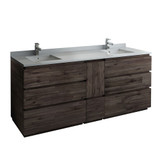 "Fresca Formosa 84"" Floor Standing Double Sink Modern Bathroom Cabinet w/ Top & Sinks 