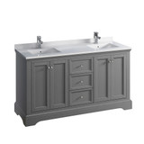 "Fresca Windsor 60"" Gray Textured Traditional Double Sink Bathroom Cabinet w/ Top & Sinks 