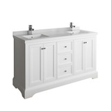 "Fresca Windsor 60"" Matte White Traditional Double Sink Bathroom Cabinet w/ Top & Sinks 