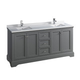 "Fresca Windsor 72"" Gray Textured Traditional Double Sink Bathroom Cabinet w/ Top & Sinks 