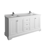 "Fresca Windsor 72"" Matte White Traditional Double Sink Bathroom Cabinet w/ Top & Sinks 