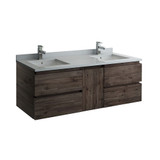 "Fresca Formosa 58"" Wall Hung Double Sink Modern Bathroom Cabinet 