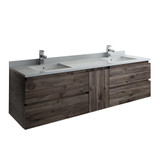 "Fresca Formosa 70"" Wall Hung Double Sink Modern Bathroom Cabinet 