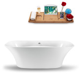 Side view of white tub with bamboo tray