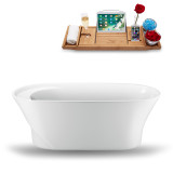 Side view of the white soaking tub with tray