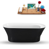 Side view of the 59 inch black freestanding tub with tray