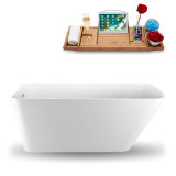 Side view of 59 inch white acrylic tub with tray