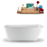 Side view of the 59 inch rectangular tub with tray