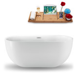 Side view of the 59 inch white oval soaking tub with tray