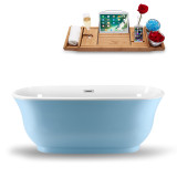 side view 59 inch blue oval soaking tub