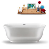 59 inch white oval deep soaking tub side view
