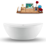75 inch glossy white freestanding tub side view  side view