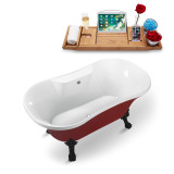 60 inch red vintage clawfoot soaking tub isometric view