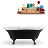 Streamline 68 Black Vintage Clawfoot Soaking Tub and Tray With External Drain | N103BL-CH