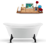 67 inch white oval vintage clawfoot tub side view