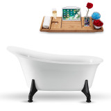 59 inch white oval vintage clawfoot tub side view