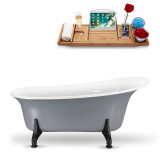 67 inch vintage oval clawfoot tub in grey side view